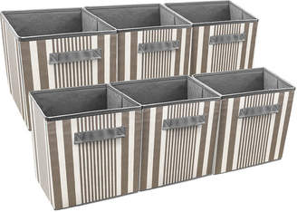SORBUS Sorbus Foldable Storage Cube Basket Bin 6 Pack Vertical Stripe Line Pattern