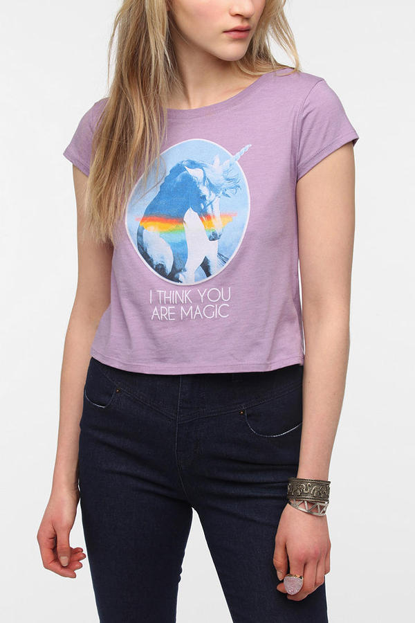 Urban Outfitters Corner Shop Magical Unicorn Cropped Tee