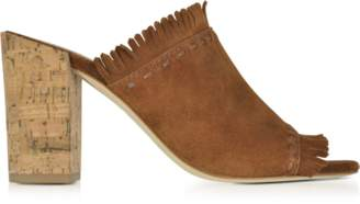 Tory Burch Huntington Festival Brown Suede High Heel Mules w/Fringes