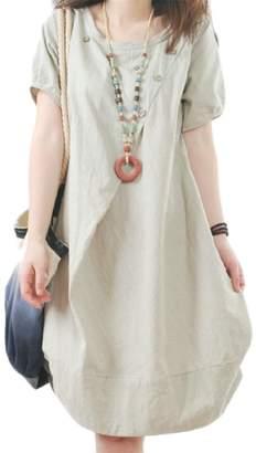 Wofupowga Womens Summer Cotton Linen Flare Short Sleeve Crew Neck Mid Dress M