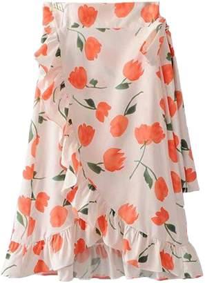 Goodnight Macaroon 'Lilly' Floral Print Ruffle Hem Wrap Midi Skirt