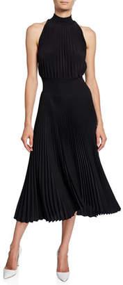 A.L.C. Renzo High-Neck Pleated Asymmetrical Cocktail Dress