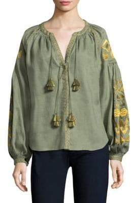 Embroidered Linen Blouse