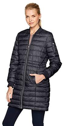 Kenneth Cole Women's Lightweight Anorak Puffer Varsity with Rib Knit Trims