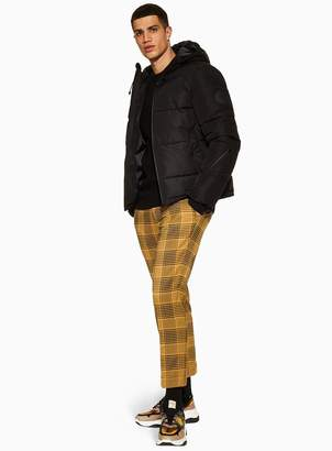 Topman Yellow Check Relaxed Crop Trousers