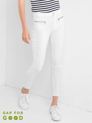 Gap Mid Rise True Skinny Ankle Jeans with Zip Detail