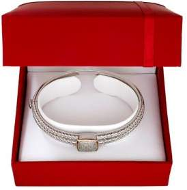 Lord & Taylor Diamond and 14K Yellow Gold Silvertone Bangle Bracelet