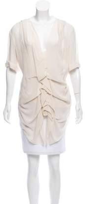 Donna Karan Silk Ruffle-Accented Top