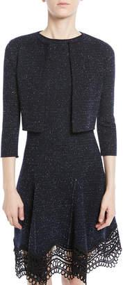 Oscar de la Renta Open-Front Cropped Melange Knit Cardigan