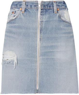 RE/DONE High-Waisted Zip Detail Pencil Skirt