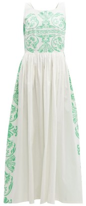 Le Sirenuse Le Sirenuse, Positano - Julia Printed Cotton Poplin Maxi Dress - Womens - Green White