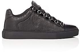 Balenciaga Men's Arena Leather Sneakers-Black