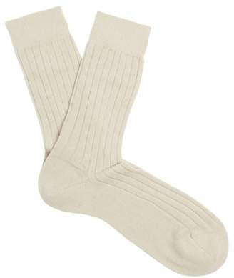 Sunspel Ribbed Knit Cashmere Socks - Mens - Beige