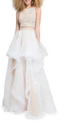 Terani Couture Glamour by Two-Piece Woven Top and Skirt Set