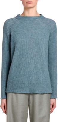 Agnona Fluffy Cashmere Silk Ribbed Sweater