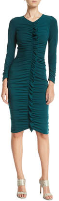 Maggy London Ruched Ruffle-Center Bodycon Dress