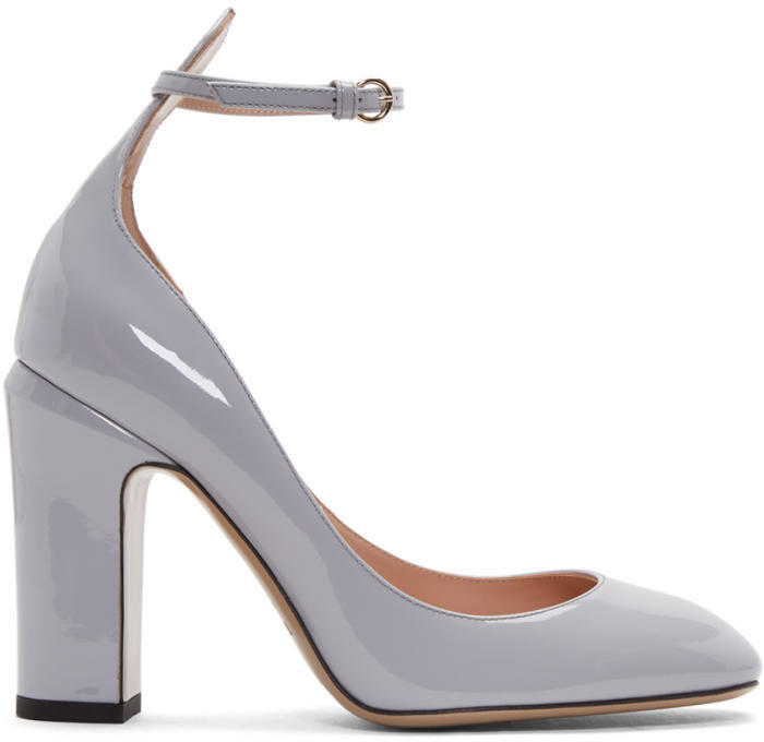 Valentino Grey Valentino Garavani Tan-go Mary Jane Heels