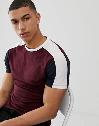 New Look muscle fit t-shirt with color block sleeve in burgundy