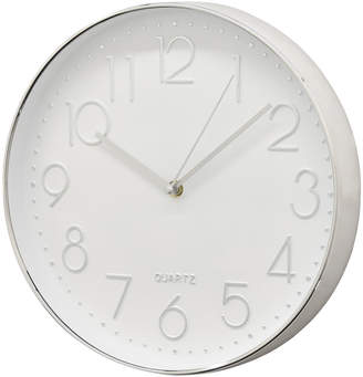 Three Hands Corp Silver-Tone & White Wall Clock