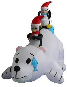 The Holiday Aisle 6 ft. Long Polar Bear with Penguins Decoration