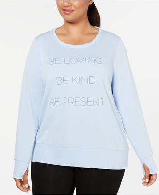 Ideology Plus Size Be Loving Graphic Long-Sleeve Top