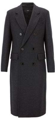 BOSS Hugo Fashion Show Capsule coat in melange virgin wool cashmere 42R Open Grey