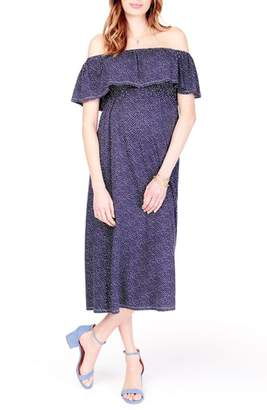 Ingrid & Isabel R) Off the Shoulder Maternity Midi Dress