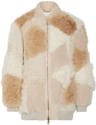 Chloé Oversized Leather-trimmed Shearling And Alpaca Coat - Beige