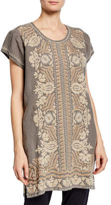 Johnny Was Rita Embroidered Short-Sleeve Linen Peasant Tunic Dress