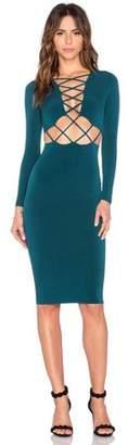thinktask Sexy Clubwear Dress Cross Straps Front Long Sleeve Bodycon Bandage Dress Green S