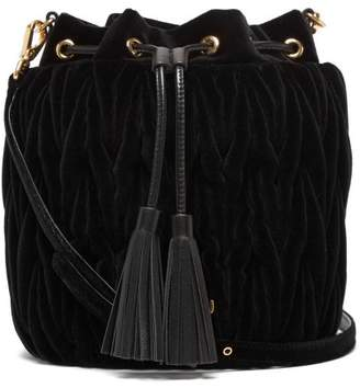 Miu Miu Matelasse Velvet Bucket Bag - Womens - Black