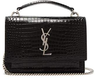 Saint Laurent Sunset Small Crocodile Effect Leather Bag - Womens - Black