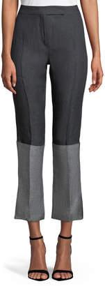 Max Mara Elba High-Waist Straight-Leg Bicolor Cropped Linen Pants
