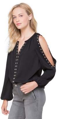 Juicy Couture Dome Stud Embellished Cold Shoulder Top