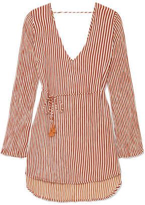 Faithfull The Brand Apart Striped Voile Mini Dress - Brick