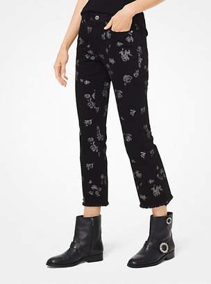 Michael Kors Metallic Rose Print Cropped Jeans