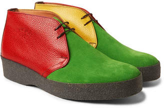 Noah + Sanders Colour-Block Suede And Pebble-Grain Leather Desert Boots