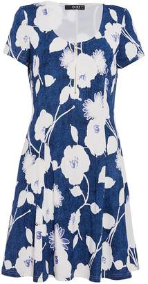 Quiz Blue & Cream Floral Tunic Dress