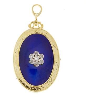 18K Yellow Gold with Cobalt Blue Enamel & 0.10ct Diamond Vintage Locket Pendant