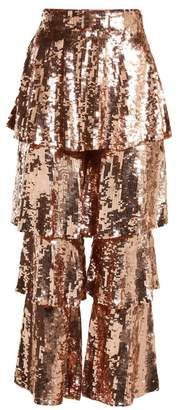 Osman - Felix Tiered Sequin Embellished Trousers - Womens - Rose Gold