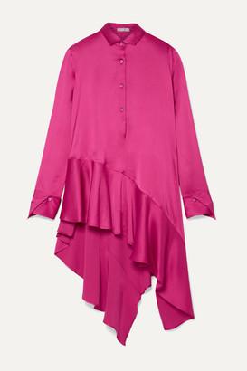 Palmer Harding palmer//harding - Spicy Asymmetric Ruffled Satin Top - Pink