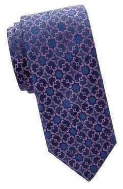 Charvet Embroidery Print Silk Tie