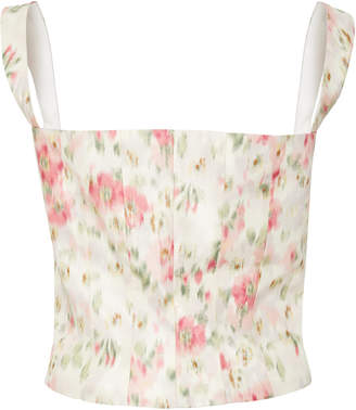 Brock Collection Tayten Floral-Print Silk-Voile Corset Top