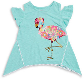 Flapdoodles Girls 2-6x Girls Flamingo-Print Cold Shoulder Blouse $27 thestylecure.com