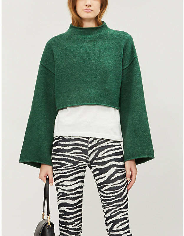 Lost in a Forest cropped funnel-neck knitted jumper