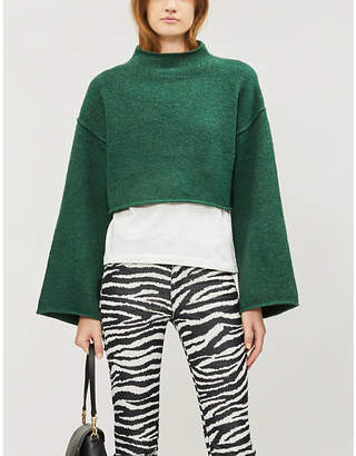 Free People Lost in a Forest cropped funnel-neck knitted jumper