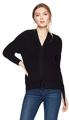 Cable Stitch Women's Belted Cotton Cardigan Sweater