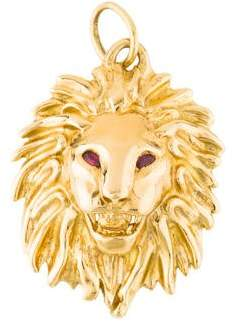 18K Ruby Lion Head Pendant Brooch