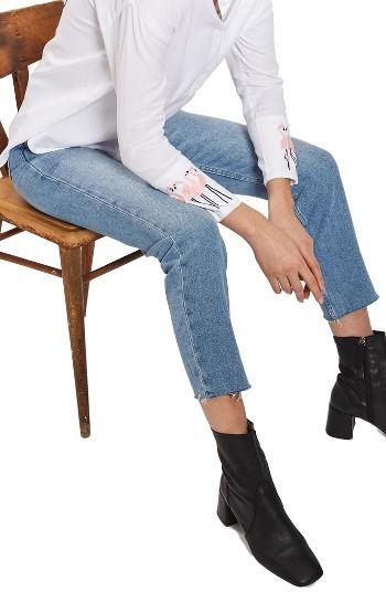 TopshopWomen's Topshop Raw Hem Straight Leg Jeans