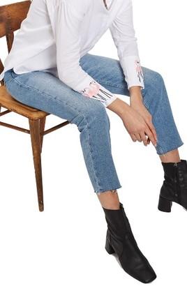 Women's Topshop Raw Hem Straight Leg Jeans $75 thestylecure.com